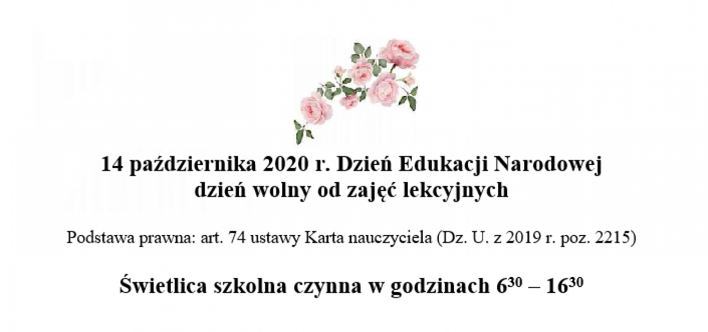 14 października 2020 r.  Dzień Edukacji Narodowej